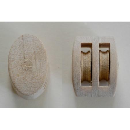 Poulie tout en bois spéciale pour le modélisme naval aux échelles du 1/10 au 1/20
