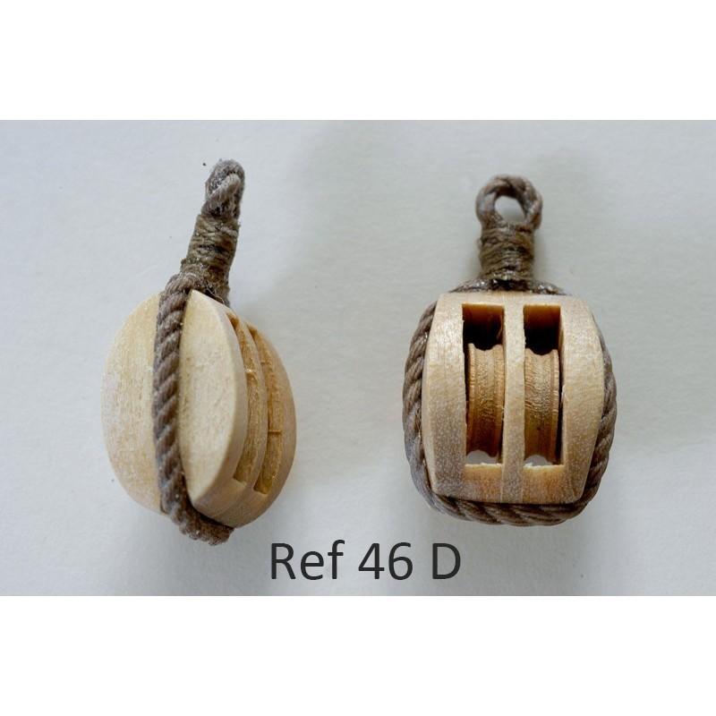 Poulie double en bois avec estrope  pour maquette et modèle réduit de bateau