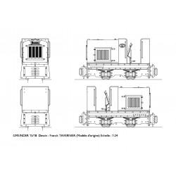 locotracteur Gmeinder dessin au 1/24 retranscrit au 1/43,5