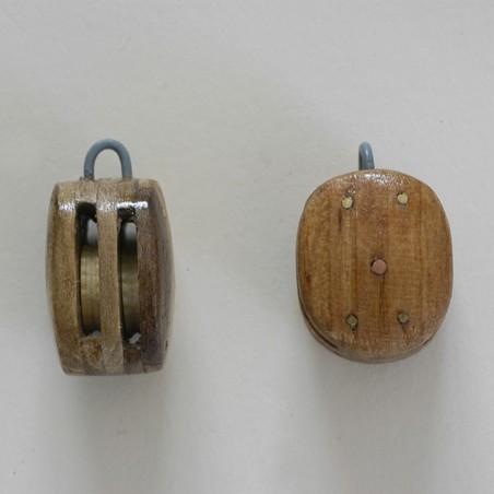 Poulie en bois traditionnelle Havraise pour modèle réduit