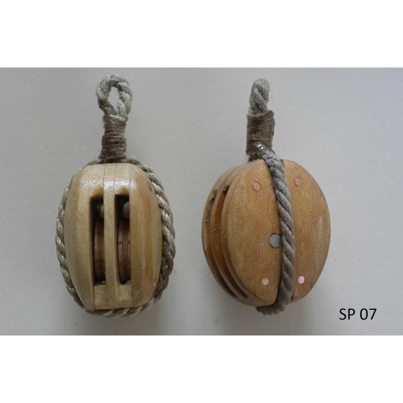 Poulie double en bois pour modèle réduit de vieux gréement